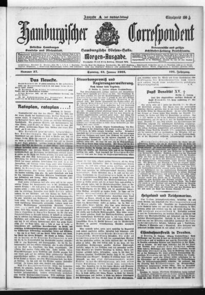 Börsen-Halle / ab 1905: Hamburgischer Correspondent und neue hamburgische Börsen-Halle - 1922-01-22