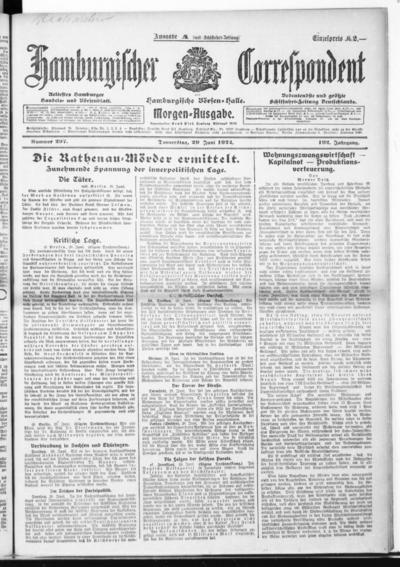 Börsen-Halle / ab 1905: Hamburgischer Correspondent und neue hamburgische Börsen-Halle - 1922-06-29