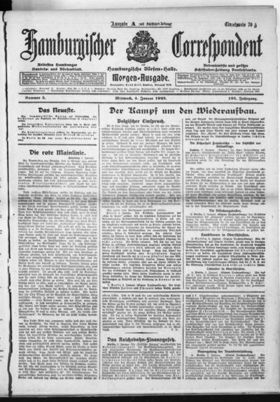 Börsen-Halle / ab 1905: Hamburgischer Correspondent und neue hamburgische Börsen-Halle - 1922-01-04