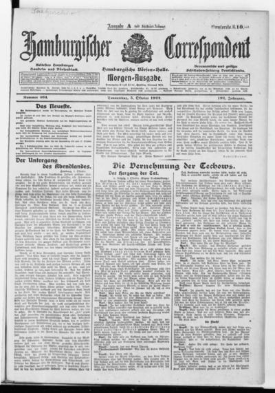 Börsen-Halle / ab 1905: Hamburgischer Correspondent und neue hamburgische Börsen-Halle - 1922-10-05
