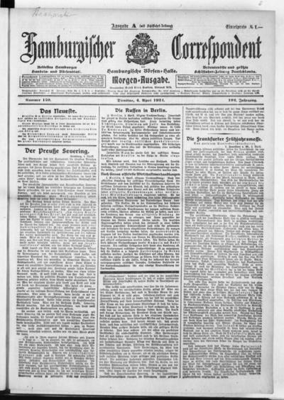Börsen-Halle / ab 1905: Hamburgischer Correspondent und neue hamburgische Börsen-Halle - 1922-04-04