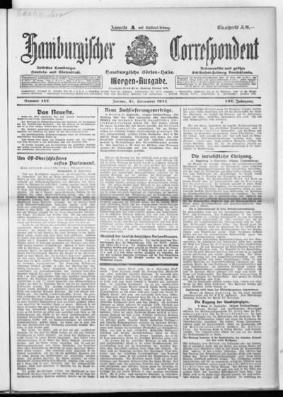 Börsen-Halle / ab 1905: Hamburgischer Correspondent und neue hamburgische Börsen-Halle - 1922-09-22