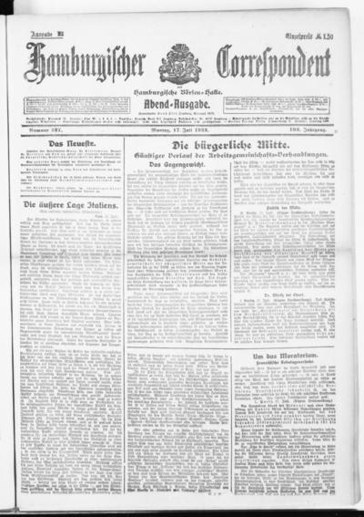 Börsen-Halle / ab 1905: Hamburgischer Correspondent und neue hamburgische Börsen-Halle - 1922-07-17