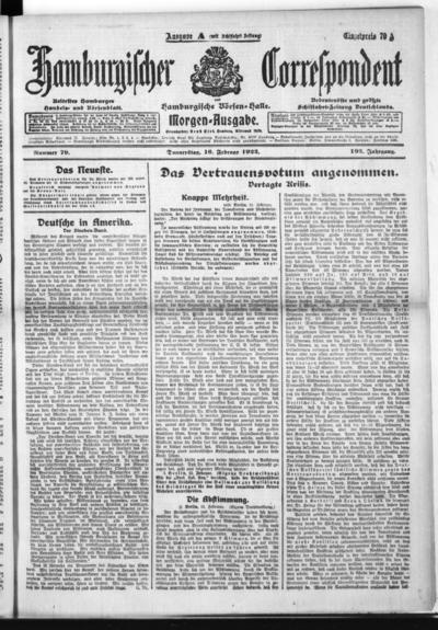 Börsen-Halle / ab 1905: Hamburgischer Correspondent und neue hamburgische Börsen-Halle - 1922-02-16
