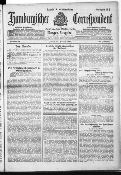 Börsen-Halle / ab 1905: Hamburgischer Correspondent und neue hamburgische Börsen-Halle - 1922-02-24