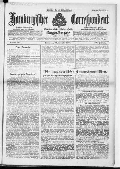 Börsen-Halle / ab 1905: Hamburgischer Correspondent und neue hamburgische Börsen-Halle - 1922-12-21
