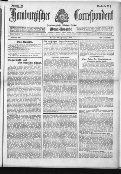 Börsen-Halle / ab 1905: Hamburgischer Correspondent und neue hamburgische Börsen-Halle - 1922-02-20