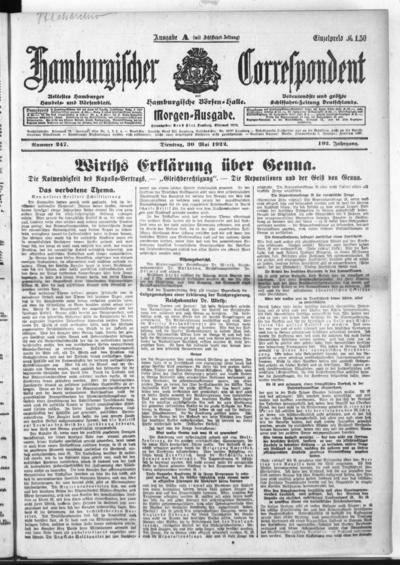 Börsen-Halle / ab 1905: Hamburgischer Correspondent und neue hamburgische Börsen-Halle - 1922-05-30
