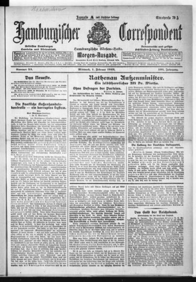 Börsen-Halle / ab 1905: Hamburgischer Correspondent und neue hamburgische Börsen-Halle - 1922-02-01