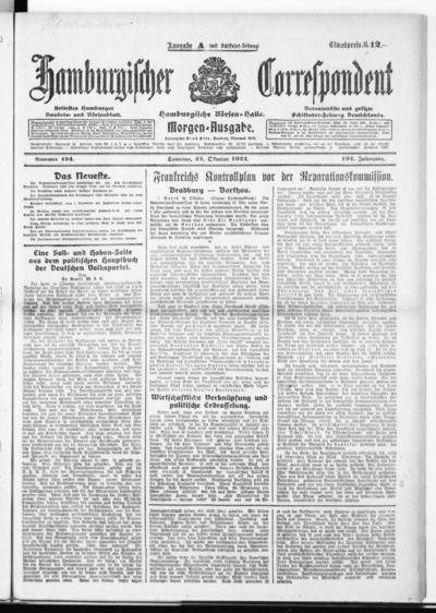 Börsen-Halle / ab 1905: Hamburgischer Correspondent und neue hamburgische Börsen-Halle - 1922-10-22