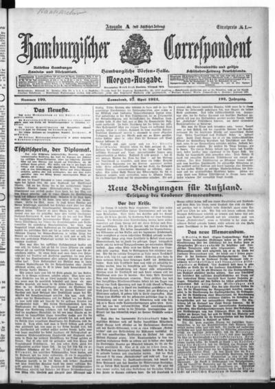 Börsen-Halle / ab 1905: Hamburgischer Correspondent und neue hamburgische Börsen-Halle - 1922-04-29