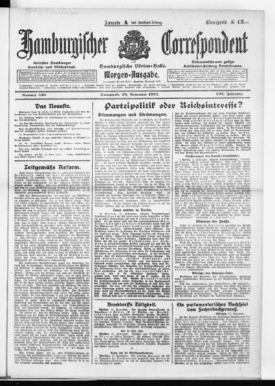 Börsen-Halle / ab 1905: Hamburgischer Correspondent und neue hamburgische Börsen-Halle - 1922-11-18