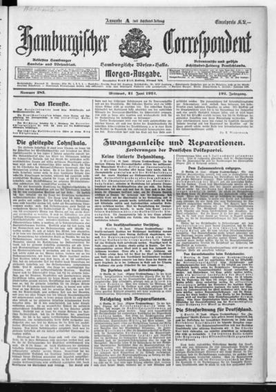 Börsen-Halle / ab 1905: Hamburgischer Correspondent und neue hamburgische Börsen-Halle - 1922-06-21