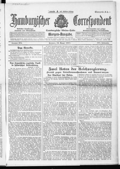Börsen-Halle / ab 1905: Hamburgischer Correspondent und neue hamburgische Börsen-Halle - 1922-08-13