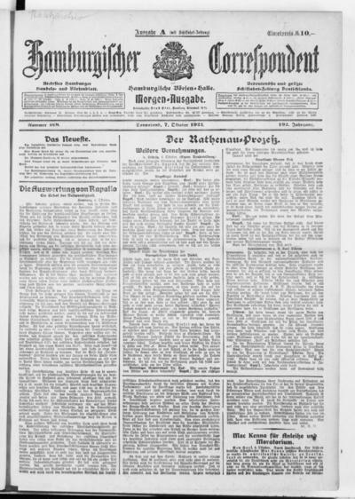 Börsen-Halle / ab 1905: Hamburgischer Correspondent und neue hamburgische Börsen-Halle - 1922-10-07