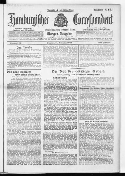 Börsen-Halle / ab 1905: Hamburgischer Correspondent und neue hamburgische Börsen-Halle - 1922-11-21