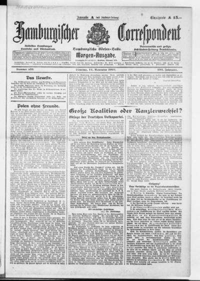 Börsen-Halle / ab 1905: Hamburgischer Correspondent und neue hamburgische Börsen-Halle - 1922-11-14