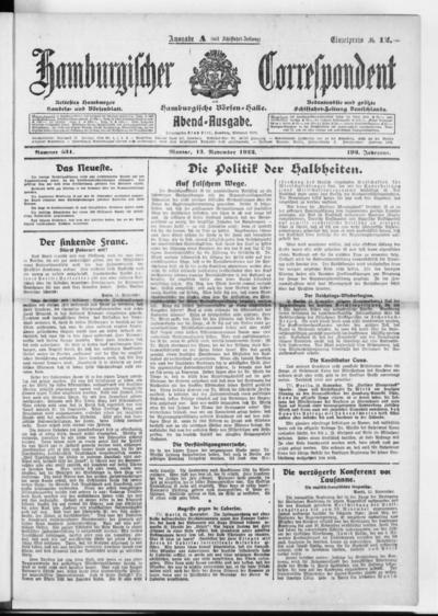Börsen-Halle / ab 1905: Hamburgischer Correspondent und neue hamburgische Börsen-Halle - 1922-11-13