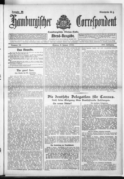 Börsen-Halle / ab 1905: Hamburgischer Correspondent und neue hamburgische Börsen-Halle - 1922-01-09