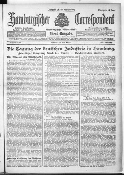 Börsen-Halle / ab 1905: Hamburgischer Correspondent und neue hamburgische Börsen-Halle - 1922-05-22