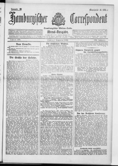 Börsen-Halle / ab 1905: Hamburgischer Correspondent und neue hamburgische Börsen-Halle - 1922-11-06