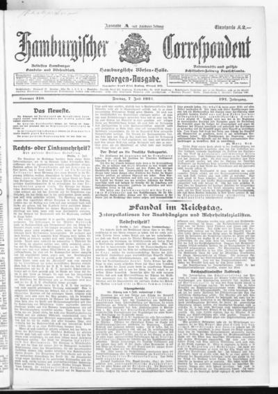 Börsen-Halle / ab 1905: Hamburgischer Correspondent und neue hamburgische Börsen-Halle - 1922-07-07