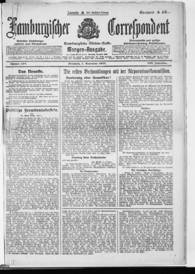 Börsen-Halle / ab 1905: Hamburgischer Correspondent und neue hamburgische Börsen-Halle - 1922-11-01