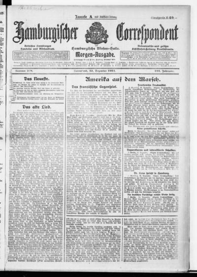 Börsen-Halle / ab 1905: Hamburgischer Correspondent und neue hamburgische Börsen-Halle - 1922-12-23