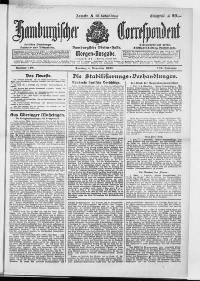 Börsen-Halle / ab 1905: Hamburgischer Correspondent und neue hamburgische Börsen-Halle - 1922-11-05