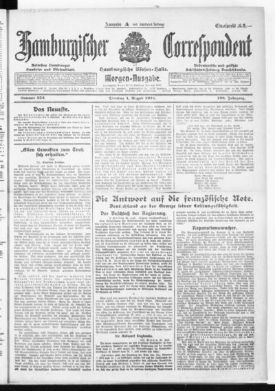 Börsen-Halle / ab 1905: Hamburgischer Correspondent und neue hamburgische Börsen-Halle - 1922-08-01