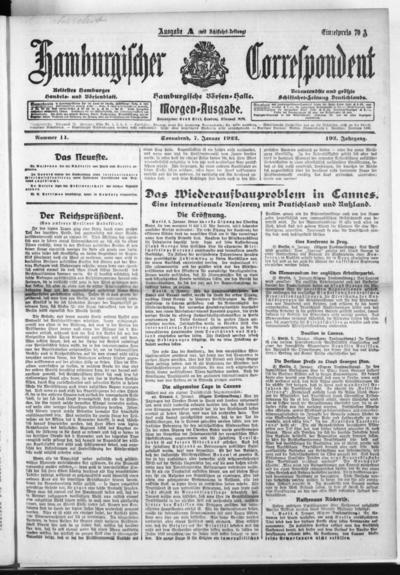 Börsen-Halle / ab 1905: Hamburgischer Correspondent und neue hamburgische Börsen-Halle - 1922-01-07