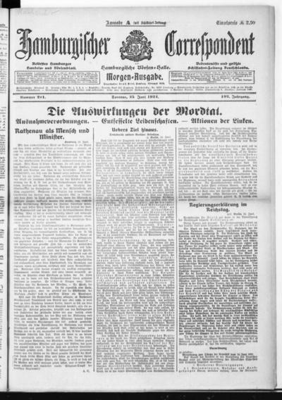 Börsen-Halle / ab 1905: Hamburgischer Correspondent und neue hamburgische Börsen-Halle - 1922-06-25