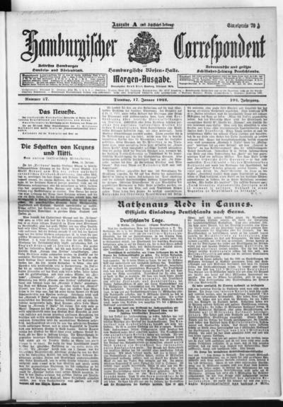 Börsen-Halle / ab 1905: Hamburgischer Correspondent und neue hamburgische Börsen-Halle - 1922-01-17
