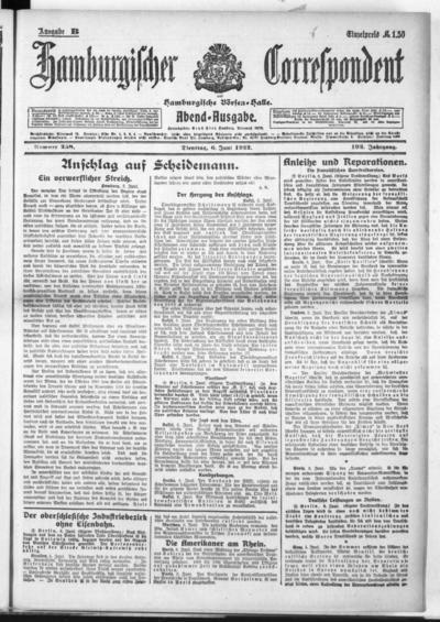 Börsen-Halle / ab 1905: Hamburgischer Correspondent und neue hamburgische Börsen-Halle - 1922-06-06