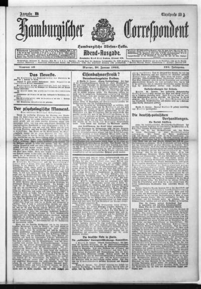 Börsen-Halle / ab 1905: Hamburgischer Correspondent und neue hamburgische Börsen-Halle - 1922-01-30