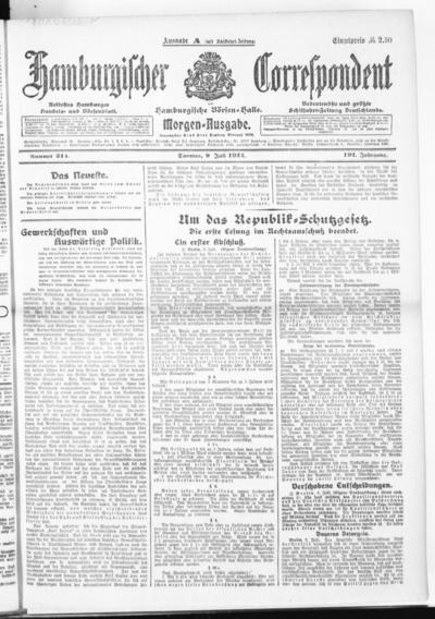 Börsen-Halle / ab 1905: Hamburgischer Correspondent und neue hamburgische Börsen-Halle - 1922-07-09