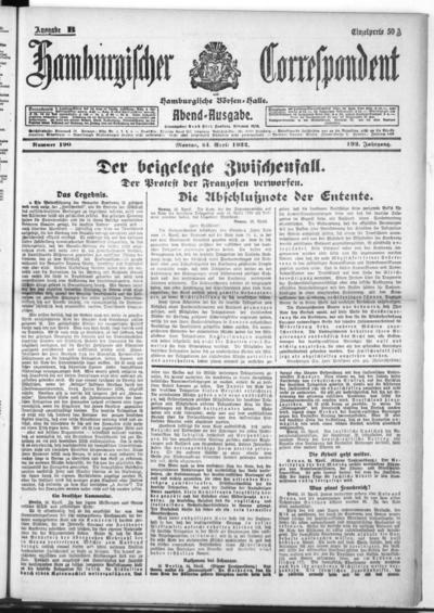 Börsen-Halle / ab 1905: Hamburgischer Correspondent und neue hamburgische Börsen-Halle - 1922-04-24