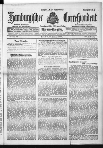 Börsen-Halle / ab 1905: Hamburgischer Correspondent und neue hamburgische Börsen-Halle - 1922-02-18