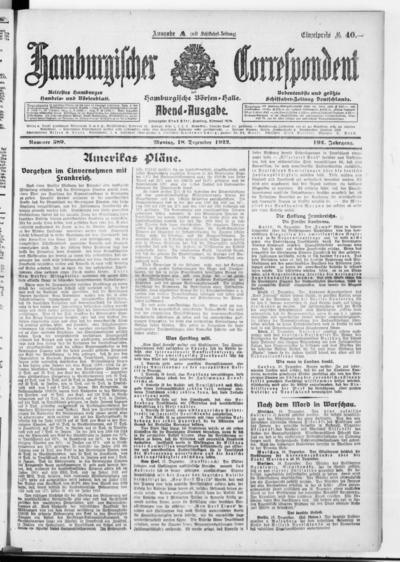 Börsen-Halle / ab 1905: Hamburgischer Correspondent und neue hamburgische Börsen-Halle - 1922-12-18