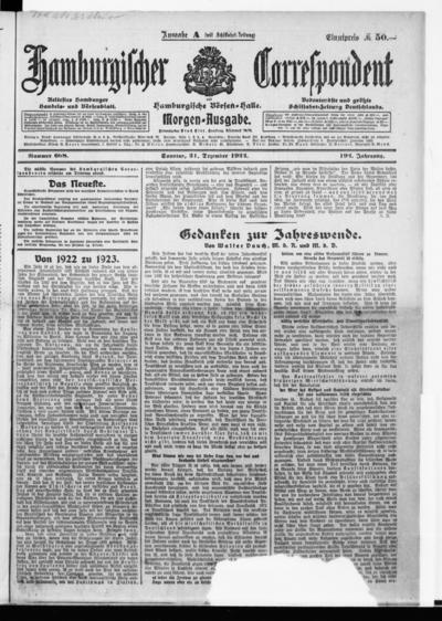 Börsen-Halle / ab 1905: Hamburgischer Correspondent und neue hamburgische Börsen-Halle - 1922-12-31