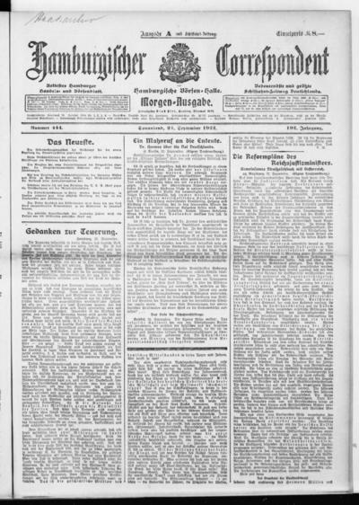 Börsen-Halle / ab 1905: Hamburgischer Correspondent und neue hamburgische Börsen-Halle - 1922-09-23