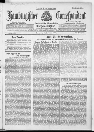 Börsen-Halle / ab 1905: Hamburgischer Correspondent und neue hamburgische Börsen-Halle - 1922-09-16