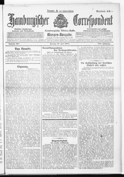 Börsen-Halle / ab 1905: Hamburgischer Correspondent und neue hamburgische Börsen-Halle - 1922-07-28