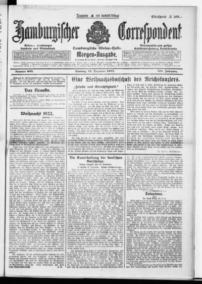 Börsen-Halle / ab 1905: Hamburgischer Correspondent und neue hamburgische Börsen-Halle - 1922-12-24