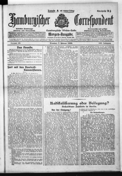 Börsen-Halle / ab 1905: Hamburgischer Correspondent und neue hamburgische Börsen-Halle - 1922-02-07