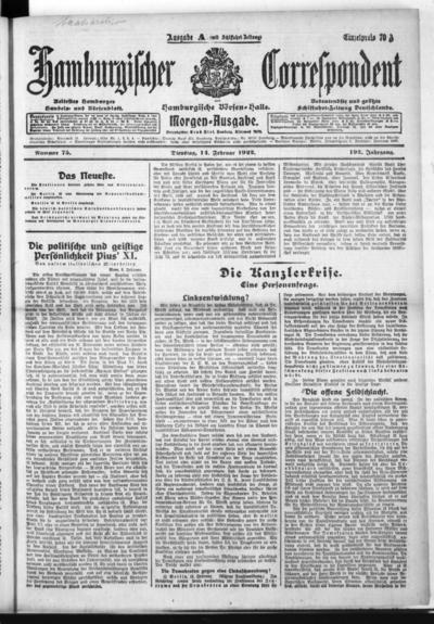 Börsen-Halle / ab 1905: Hamburgischer Correspondent und neue hamburgische Börsen-Halle - 1922-02-14