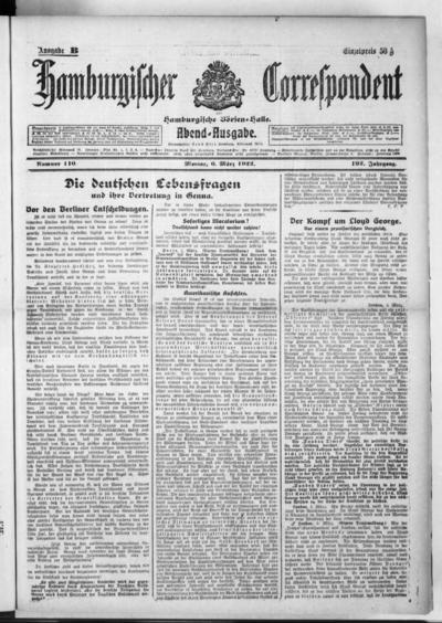 Börsen-Halle / ab 1905: Hamburgischer Correspondent und neue hamburgische Börsen-Halle - 1922-03-06