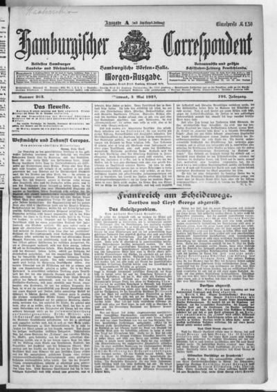Börsen-Halle / ab 1905: Hamburgischer Correspondent und neue hamburgische Börsen-Halle - 1922-05-03
