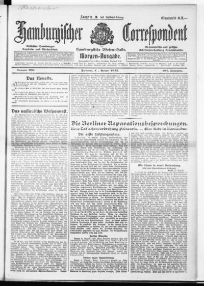Börsen-Halle / ab 1905: Hamburgischer Correspondent und neue hamburgische Börsen-Halle - 1922-08-22