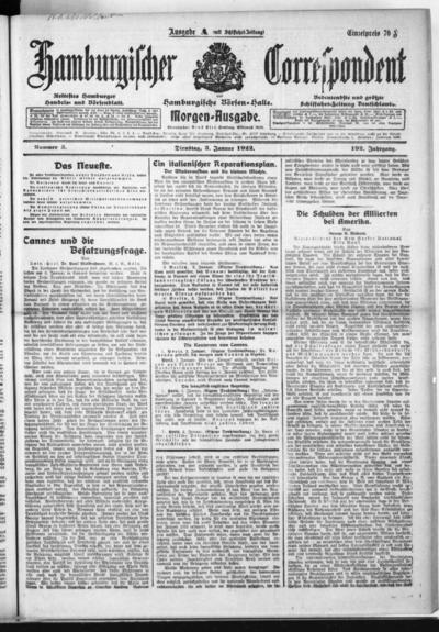 Börsen-Halle / ab 1905: Hamburgischer Correspondent und neue hamburgische Börsen-Halle - 1922-01-03